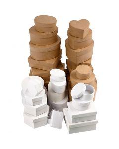Boxes, size 6,5-18 cm, brown, white, 30 pc/ 1 set