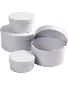 Round Boxes, H: 4+5+6+7 cm, D: 8+10+12+14 cm, white, 4 pc/ 1 set