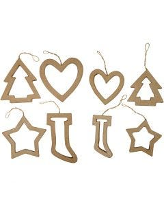 Christmas Ornaments, H: 9+12 cm, 24 pc/ 1 pack
