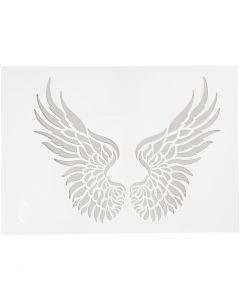 Stencil , wings, A4, 210x297 mm, 1 pc