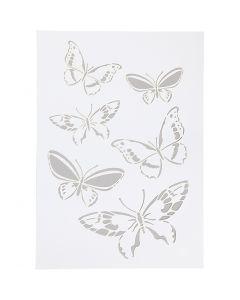 Stencil , butterfly, A4, 210x297 mm, 1 pc