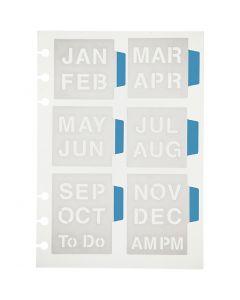 Stencil, months, 12,5x17,5 cm, 1 sheet