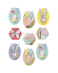 3D Stickers, rabbits, H: 30-45 mm, W: 32-35 mm, 9 pc/ 1 pack