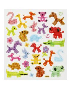 Fancy Glitter Stickers, balloon animals, 15x16,5 cm, 1 sheet