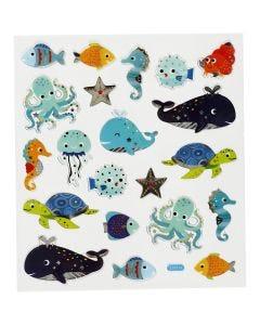 Stickers, sea animals, 15x16,5 cm, 1 sheet