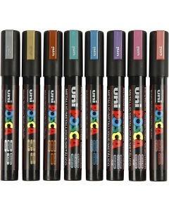 Posca Marker, no. PC-5M, line 2,5 mm, metallic colours, 8 pc/ 1 pack