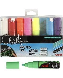 Chalk Pen, line 8 mm, assorted colours, 8 pc/ 1 pack