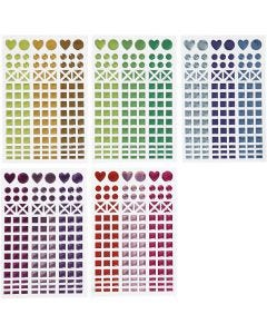 Mosaic Stickers, D: 8-14 mm, 11x16,5 cm, assorted colours, 10 sheet/ 1 pack