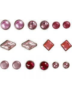 Deco Rivets, size 8-18 mm, pink, 16 pc/ 1 pack