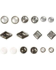 Deco Rivets, size 8-18 mm, white, 16 pc/ 1 pack