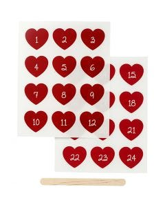 Rub-on Sticker, advent numbers, H: 32 mm, W: 28 mm, 12,2x15,3 cm, red, 1 pack