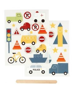 Rub-on Sticker, transport, 12,2x15,3 cm, 1 pack