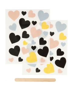 Rub-on Sticker, hearts, 12,2x15,3 cm, 1 pack