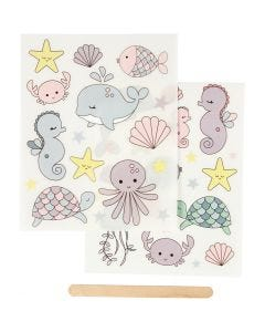 Rub-on Sticker, ocean, 12,2x15,3 cm, 1 pack