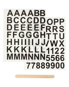 Rub-on Sticker, letters and numbers, H: 17 mm, 12,2x15,3 cm, black, 1 pack
