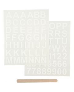 Rub-on Sticker, letters and numbers, 12,2x15,3 cm, white, 1 pack