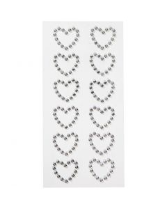 Rhinestone hearts, size 23x21 mm, 12 pc/ 1 pack