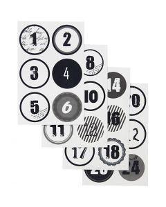 Christmas calendar number stickers, D: 4 cm, 9x14 cm, 4 ass sheets/ 1 pack