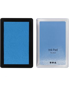 Ink Pad, H: 2 cm, size 9x6 cm, sky blue, 1 pc