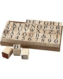 Wooden Stamps Set, H: 15 mm, size 20x20 mm, 45 pc/ 1 pack