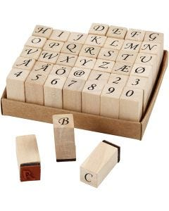 Wooden Stamps Set, H: 32 mm, size 13x13 mm, 42 asstd./ 1 set