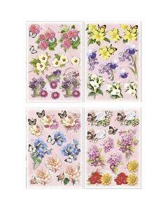 3D Decoupage Motifs, flowers and butterflies, 21x30 cm, 4 sheet/ 1 pack