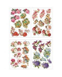 3D Decoupage Motifs, flowers and birds, 21x30 cm, 4 sheet/ 1 pack