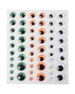 Googly Eyes, self-adhesive, D: 6+8+10+12+15 mm, green, orange, white, 1 sheet, 54 pc