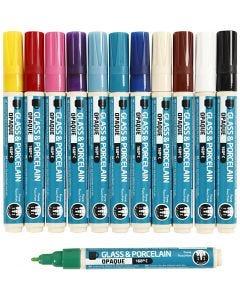 Glass & Porcelain Pens, line 2-4 mm, opaque, assorted colours, 12 pc/ 1 pack
