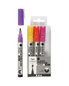 Glass & Porcelain Pens, line 1-2 mm, opaque, purple, yellow, 4 pc/1 pack