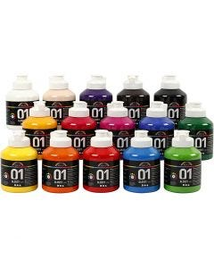 A-Color acrylic paint, no. 01, glossy, assorted colours, 15x500 ml/ 1 box