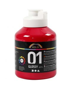 A-Color acrylic paint, glossy, primary red, 500 ml/ 1 bottle