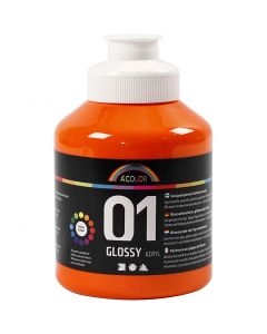 A-Color acrylic paint, glossy, orange, 500 ml/ 1 bottle