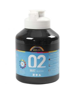 A-Color Acrylic Paint, matt, black, 500 ml/ 1 bottle