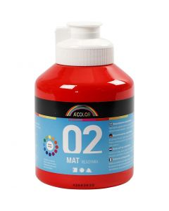 A-Color Acrylic Paint, no. 02, matt, red, 500 ml/ 1 bottle