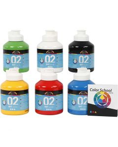 A-Color Acrylic Paint, matt, primary colours, 6x500 ml/ 1 pack