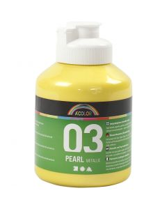 A-Color Acrylic Paint, no. 03, metallic, yellow, 500 ml/ 1 bottle