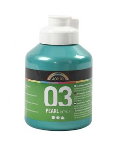 A-Color Acrylic Paint, metallic, green, 500 ml/ 1 bottle