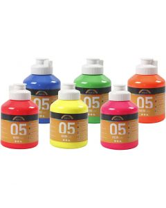 A-Color Acrylic Paint, neon colours, 6x500 ml/ 1 box