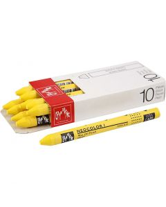 Neocolor I Crayons, L: 10 cm, thickness 8 mm, yellow (010), 10 pc/ 1 pack