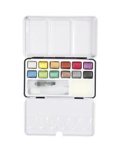 Art Aqua watercolour paints, size 10x15 mm, metallic colours, 12 colour/ 1 pack