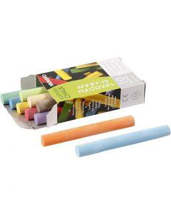 Chalkboard Chalk, L: 8 cm, D: 10 mm, assorted colours, 10 pc/ 1 pack