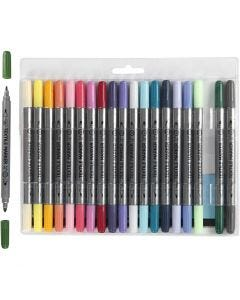 Textile Markers, line 2,3+3,6 mm, additional colours, 20 pc/ 1 pack