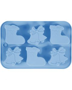 Silicone mould, christmas stockings and bells, hole size 60x75 mm, 12,5 ml, light blue, 1 pc/ 1 pack