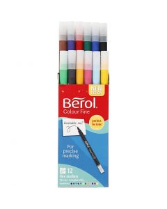 Berol Colourfine, D: 10 mm, line 0,3-0,7 mm, assorted colours, 12 pc/ 1 pack