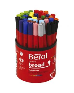 Berol Marker, D: 10 mm, line 1-1,7 mm, assorted colours, 42 pc/ 1 tub
