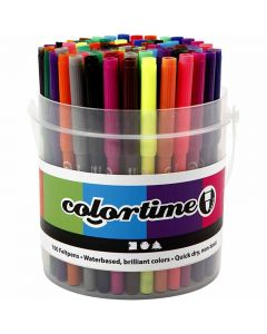Colortime Marker, line 2 mm, assorted colours, 100 pc/ 1 bucket