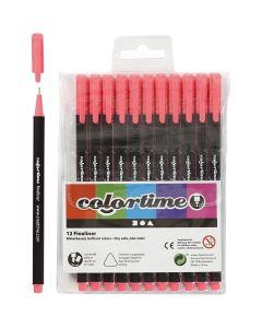 Colortime Fineliner, line 0,6-0,7 mm, pink, 12 pc/ 1 pack