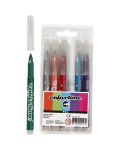 Colortime Glitter Marker, line 4,2 mm, assorted colours, 6 pc/ 1 pack