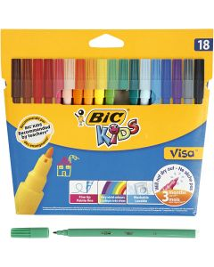 Visa Fine Marker, line 1,6 mm, assorted colours, 18 pc/ 1 pack